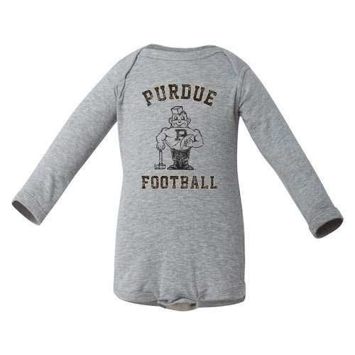 Purdue University Boilermakers Vintage Purdue Pete Next Level Infant Long Sleeve Creeper - Heather Grey
