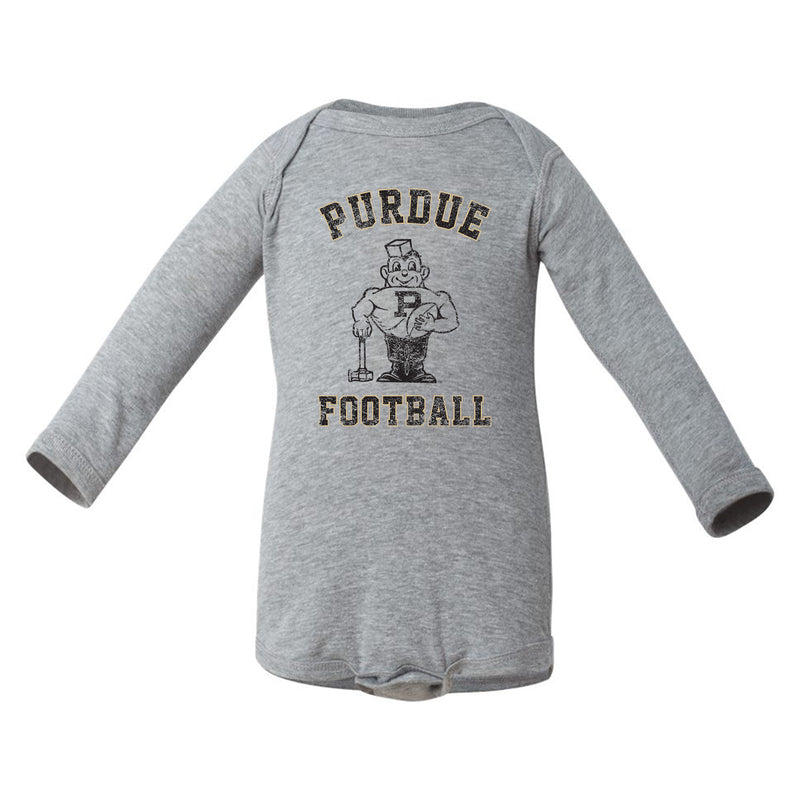 Purdue Vintage P Infant LS Creeper - Heather Grey