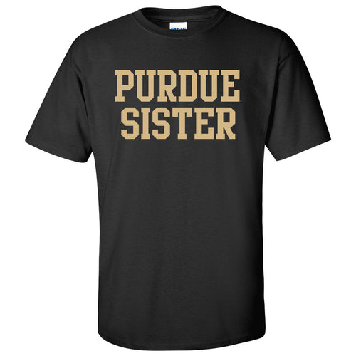 Purdue University Boilermakers Basic Block Sister Next Level Short Sleeve T Shirt - Black