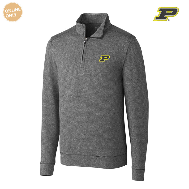 Purdue University Boilermakers Block P Cutter & Buck Shoreline Half Zip - Charcoal Heather