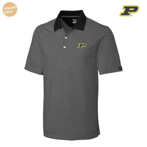 Purdue University Boilermakers Block P Cutter & Buck Big & Tall DryTec Trevor Stripe Polo - Black/Oxide