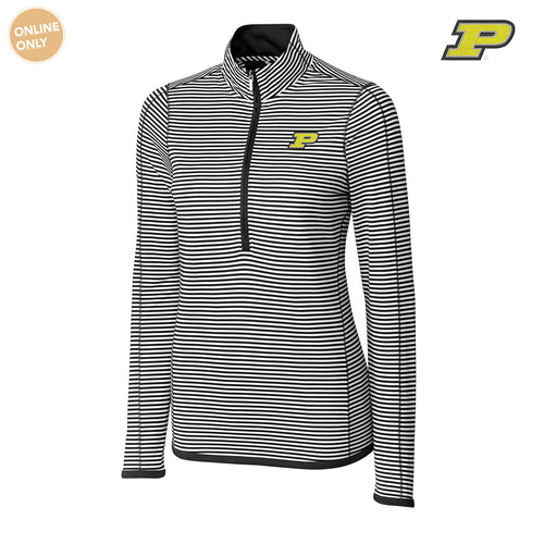 Purdue University Boilermakers Block P Cutter & Buck DryTec Women's Long Sleeve 3/4 Zip Trevor Stripe - Black