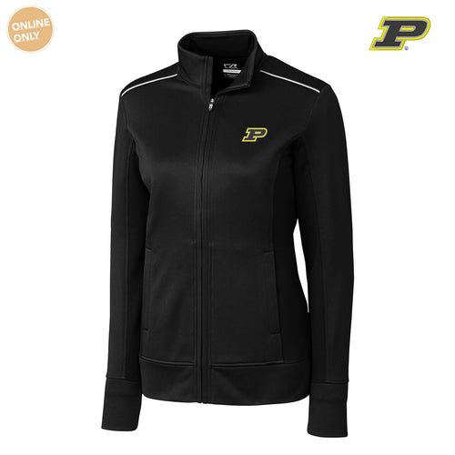 Purdue University Boilermakers Block P Cutter & Buck Ladies Ridge Full Zip - Black