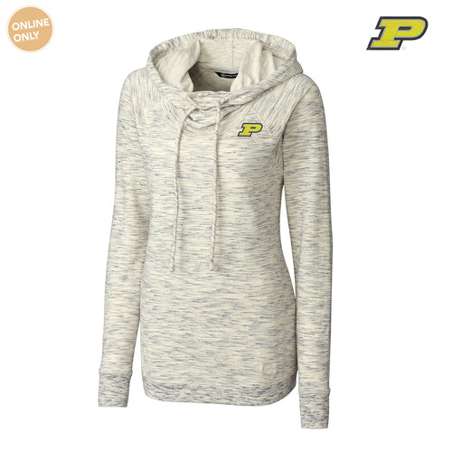 Purdue University Boilermakers Block P Cutter & Buck Women's Long Sleeve Tie Breaker Hoodie - Snow White