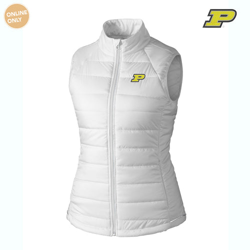 Purdue University Boilermakers Block P Cutter & Buck Women's Post Alley Vest - White