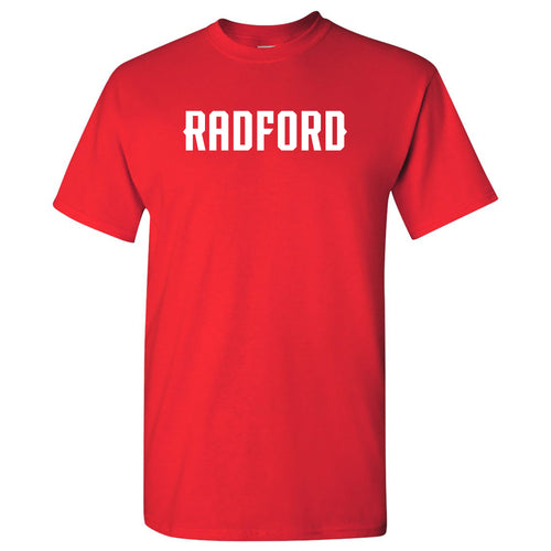 Radford University Highlanders Basic Block Cotton Short Sleeve T Shirt - Red