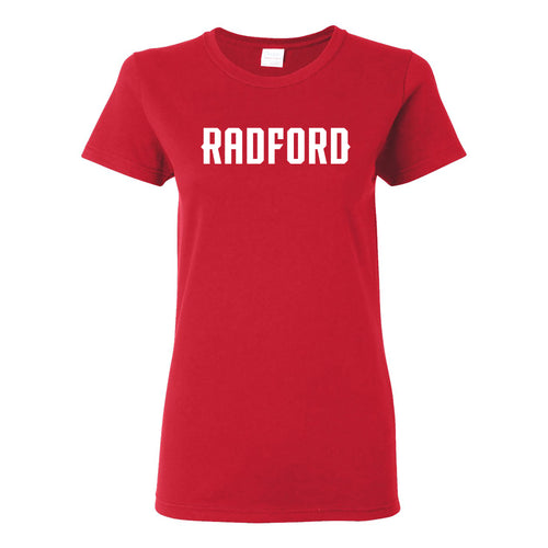 Radford University Highlanders Basic Block Cotton Short Sleeve Womens T Shirt - Red