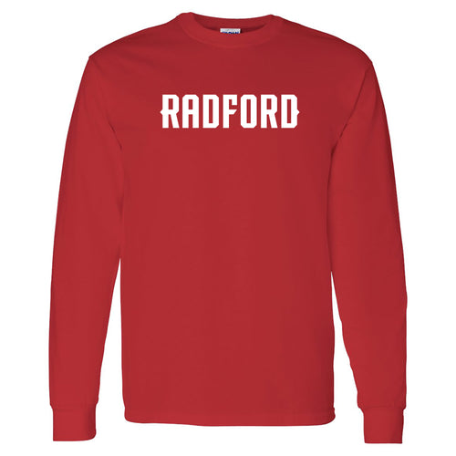 Radford University Highlanders Basic Block Cotton Long Sleeve T Shirt - Red