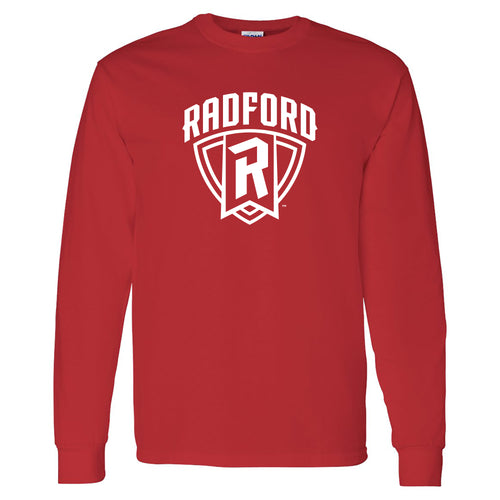 Radford University Highlanders Arch Logo Basic Cotton Long Sleeve T Shirt - Red