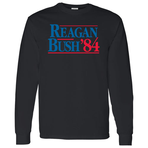 Long Sleeve Reagan/Bush 84 - Ronald Reagan, George Bush, Republican - Adult Cotton T-Shirt - Black