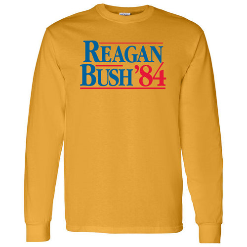 Long Sleeve Reagan/Bush 84 - Ronald Reagan, George Bush, Republican - Adult Cotton T-Shirt - Gold