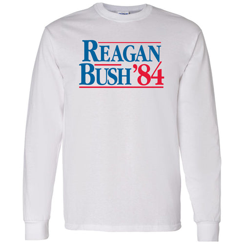 Long Sleeve Reagan/Bush 84 - Ronald Reagan, George Bush, Republican - Adult Cotton T-Shirt - White