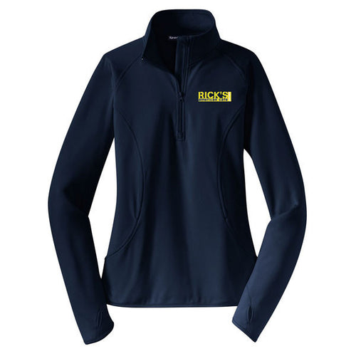 Rick's Women's Embroidered 1/4 Zip - Navy
