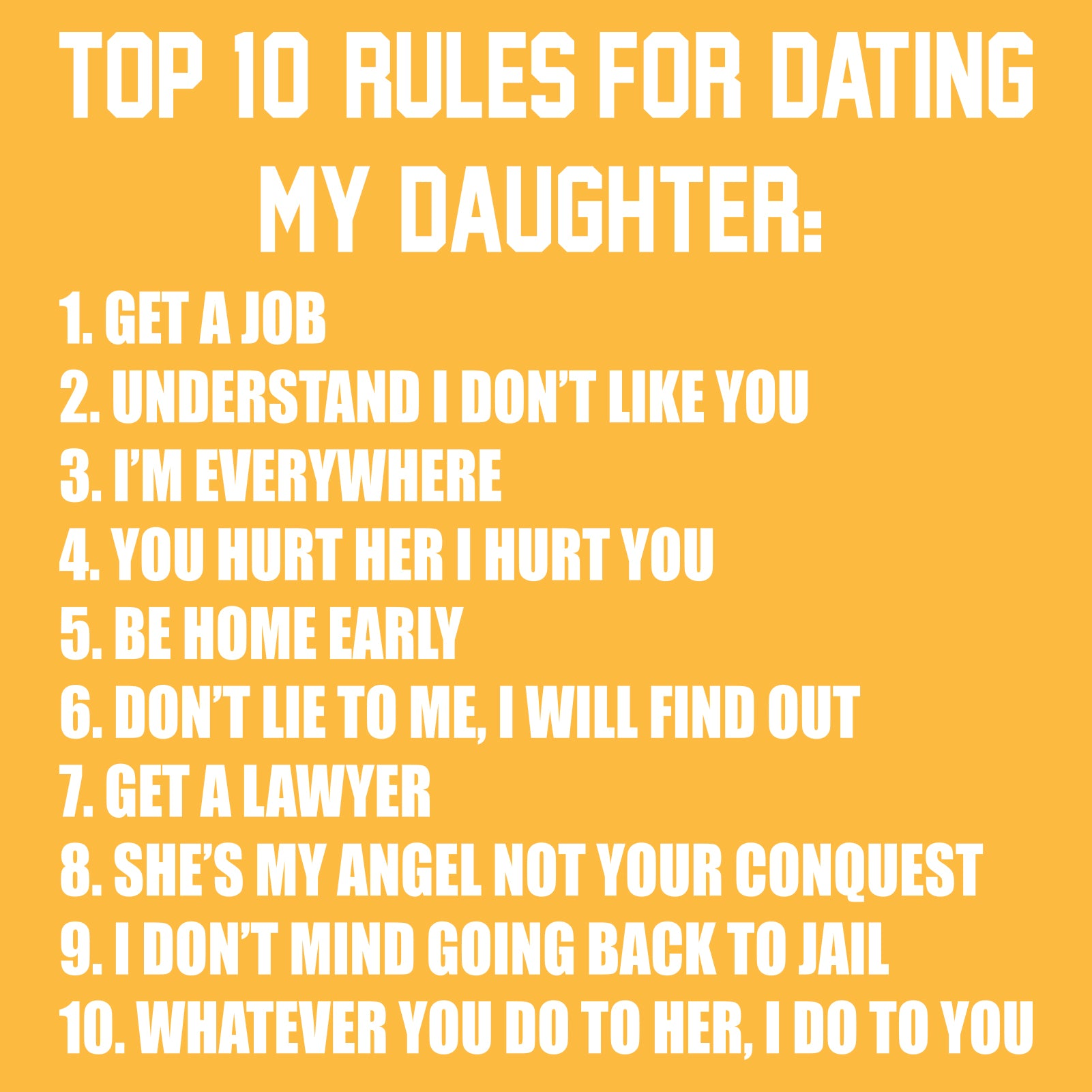 Top ten rules of dating
