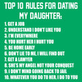 Top Ten Rules For Dating My Daughter Dads Against Daughters Dating Protective Dad Parent Funny Adult T Shirt - Green