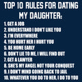 Top Ten Rules For Dating My Daughter Dads Against Daughters Dating Protective Dad Parent Funny Adult T Shirt - Navy