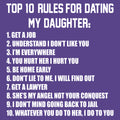 Top Ten Rules For Dating My Daughter Dads Against Daughters Dating Protective Dad Parent Funny Adult T Shirt - Purple