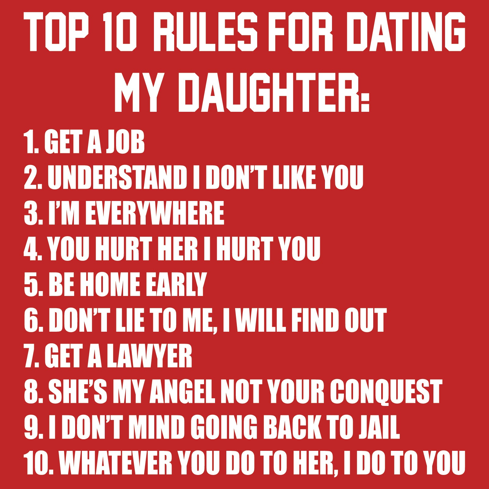 10 rules for dating my daughter in Brisbane