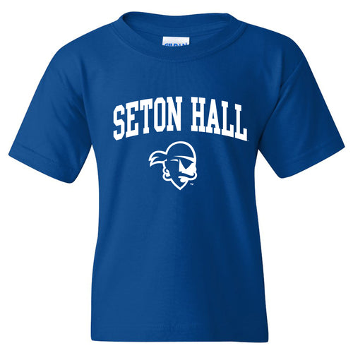 Seton Hall University Pirates Arch Logo Youth Short Sleeve T Shirt - Royal