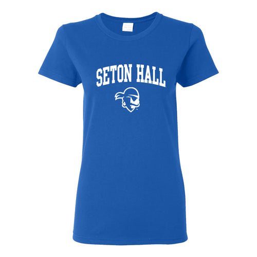 Seton Hall University Pirates Arch Logo Womens Short Sleeve T Shirt - Royal