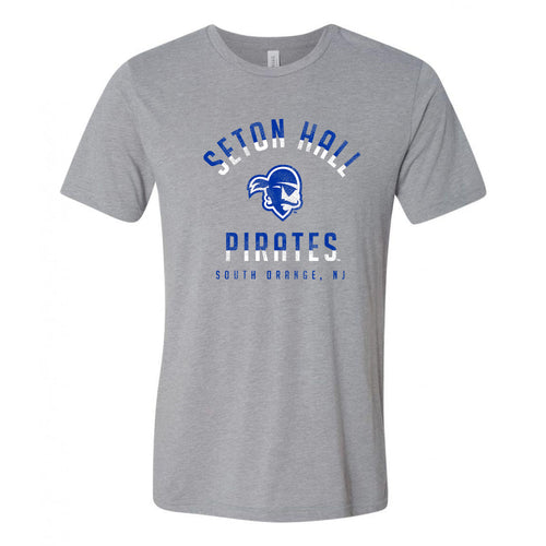 Seton Hall University Pirates Division Arch Canvas Short Sleeve T Shirt - Athletic Grey