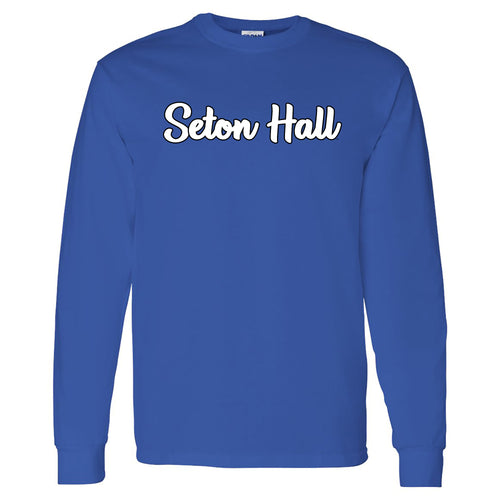 Seton Hall University Pirates Basic Script Cotton Long Sleeve T Shirt - Royal
