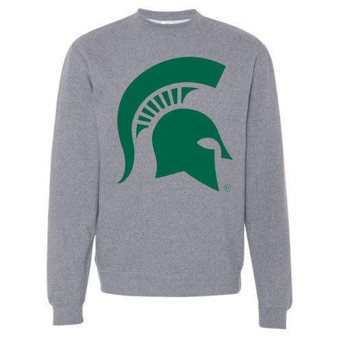 Primary Logo Spartan Helmet Michigan State Blend Independent Trading Co Crewneck - Gunmetal