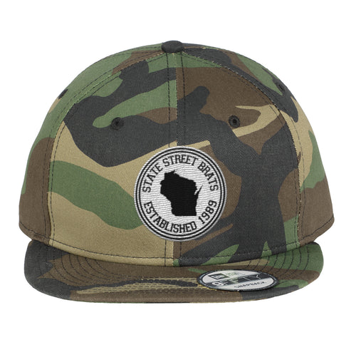 State Street Brats Circle Logo Flatbill Adjustable Hat - Camo