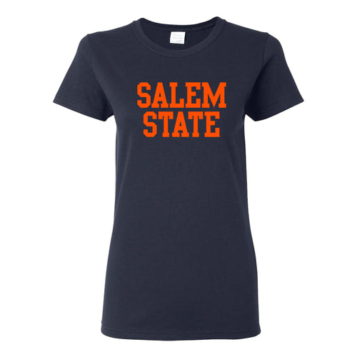 Salem State University Vikings Basic Block Womens Short Sleeve T Shirt - Navy