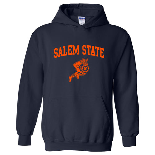 Salem State University Vikings Arch Logo Heavy Blend Hoodie - Navy