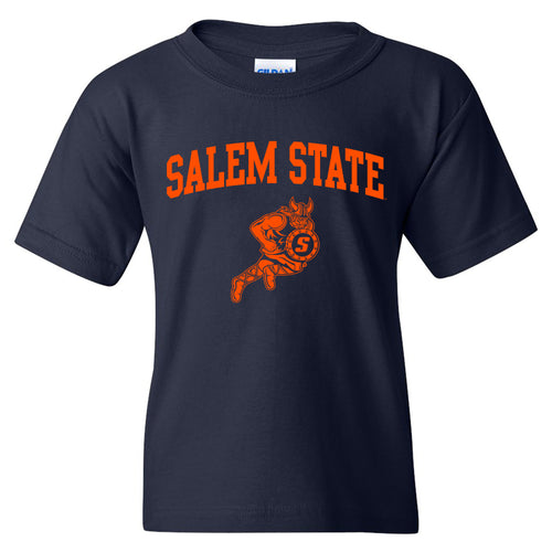 Salem State University Vikings Arch Logo Youth Short Sleeve T Shirt - Navy