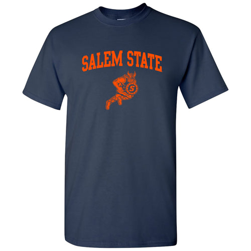 Salem State University Vikings Arch Logo Short Sleeve T Shirt - Navy