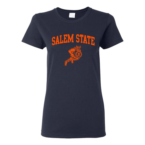 Salem State University Vikings Arch Logo Womens Short Sleeve T Shirt - Navy