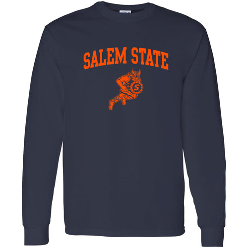 Salem State University Vikings Arch Logo Long Sleeve T-Shirt - Navy