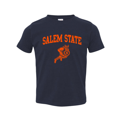 Salem State University Vikings Arch Logo Toddler Short Sleeve T Shirt - Navy