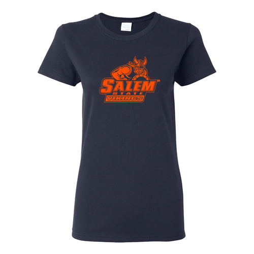 Salem State University Vikings Primary Logo Womens Short Sleeve T Shirt - Navy