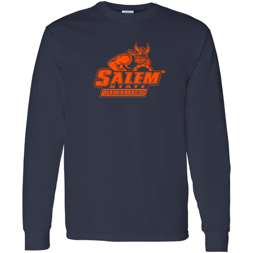 Salem State University Vikings Primary Logo Long Sleeve T-Shirt - Navy