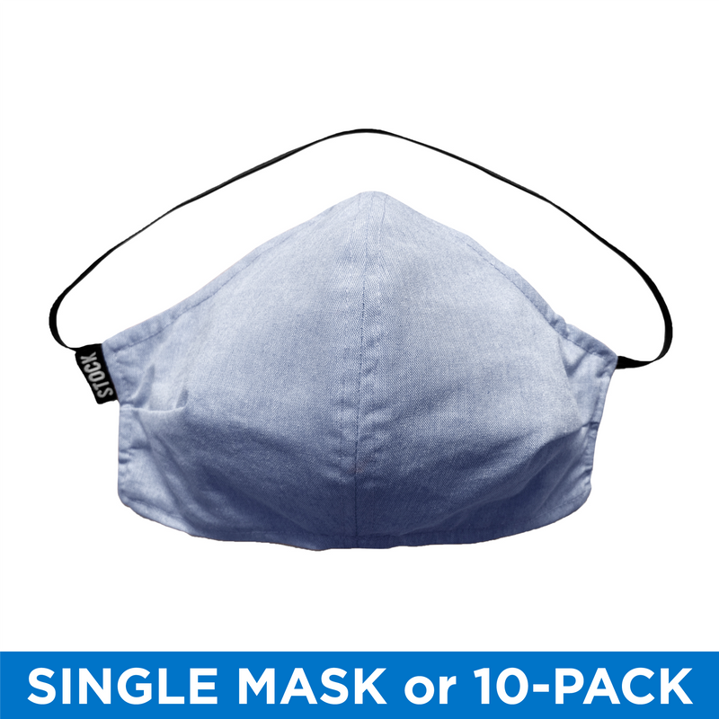 Stock Mfg. 100% Cotton USA Made Face Mask - Blue Chambray