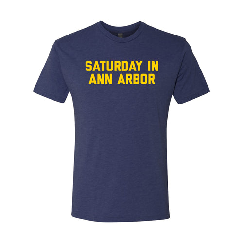 Saturday in Ann Arbor Michigan Next Level Triblend Short Sleeve T Shirt - Vintage Navy