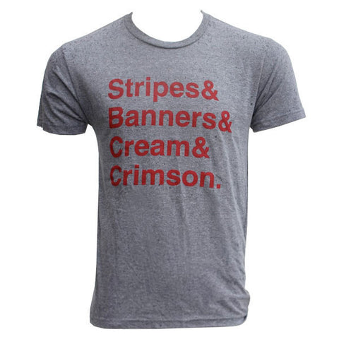 ITH Stripes Banners Creams Crimson S/S - Prem Heather