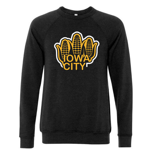Iowa City Corn Bella Sponge Fleece Sweatshirt- Black