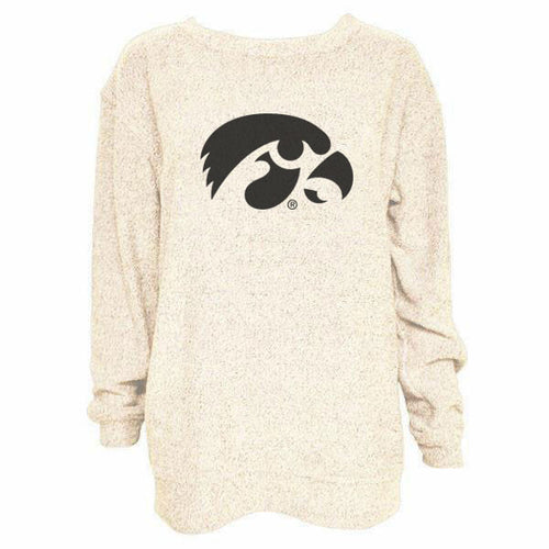 University of Iowa Hawkeye Logo Boxercraft Cozy Crewneck - Oatmeal