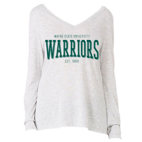 Wayne State Warriors Flowy LS - Athletic Heather