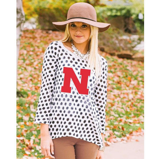 UNL Gameday Couture Polka Dot Sweater