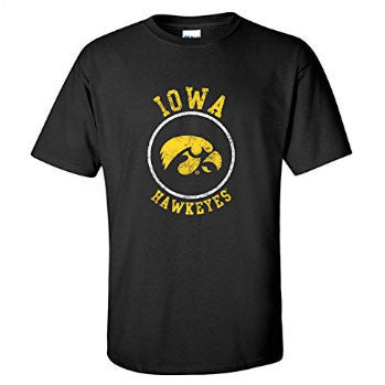 Distressed Circle Logo Iowa - Black