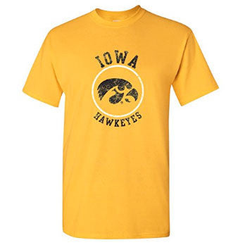 NCAA Distressed Circle Logo Iowa - Gold