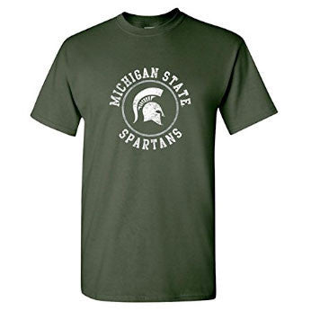 Michigan State University Spartans Distressed Circle Logo Short Sleeve T Shirt - Forest Green