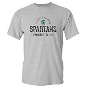 Michigan State University Spartans Established Arch Short Sleeve T Shirt - Sport Grey