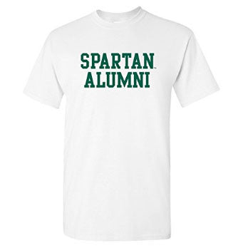 Michigan State University Spartans Basic Block Alumni Short Sleeve T Shirt - White