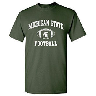 Michigan State University Spartans Classic Football Arch Short Sleeve T Shirt - Forest Green